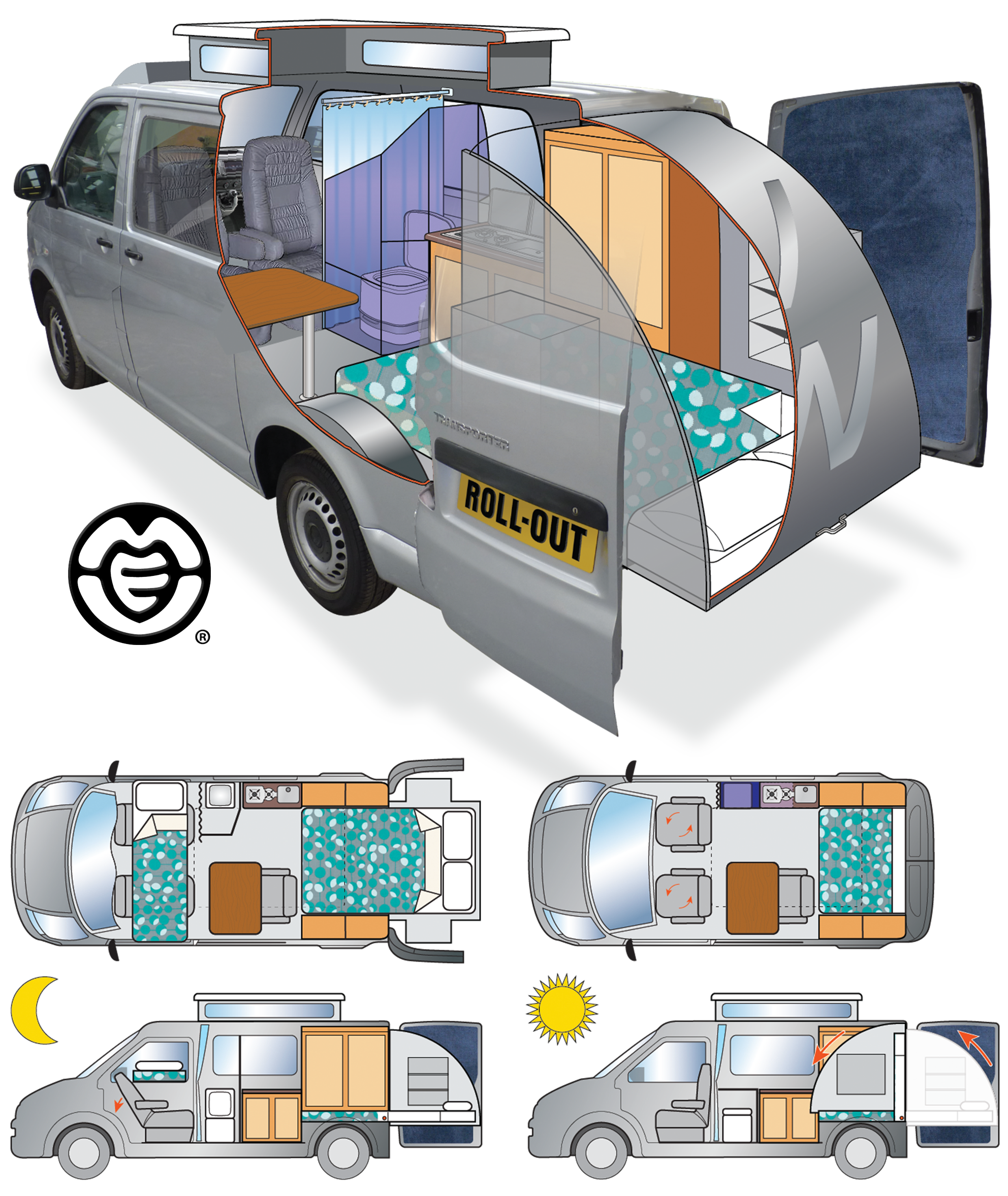 Camper Van conversion illustration
